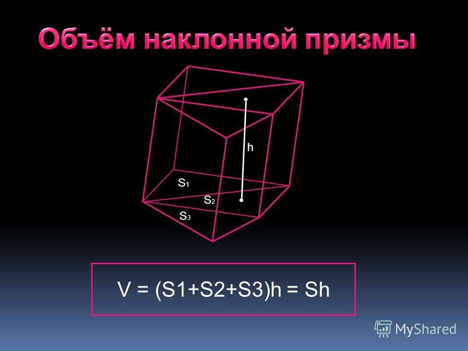 S3S3 S1S1 S2S2 h V = (S1+S2+S3)h = Sh