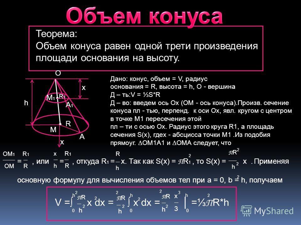 Теорема: Объем конуса равен одной трети произведения площади основания на высоту. Дано: конус, объем = V, радиус oснования = R, высота = h, O - вершина Д – ть:V = S*R Д – во: введем ось Ox (OM - ось конуса).Произв. сечение конуса пл - тью, перпенд. к