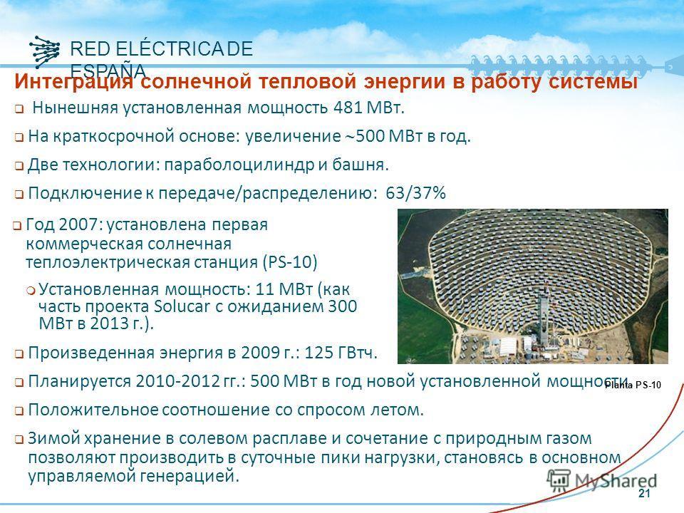 RED ELÉCTRICA DE ESPAÑA Интеграция солнечной тепловой энергии в работу системы Нынешняя установленная мощность 481 МВт. На краткосрочной основе: увеличение 500 МВт в год. Две технологии: параболоцилиндр и башня. Подключение к передаче/распределению:
