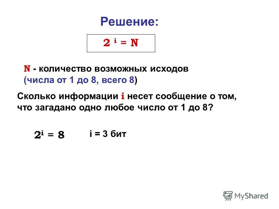 Сколько информации i несет сообщение о том, что загадано одно любое число от 1 до 8? Решение: N - количество возможных исходов (числа от 1 до 8, всего 8) 2 i = N 2 i = 8 i = 3 бит
