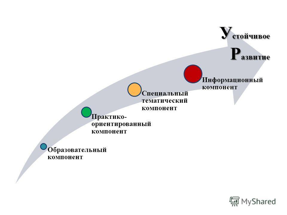 Образовательный компонент Практико- ориентированный компонент Специальный тематический компонент Информационный компонент У стойчивое Р азвитие