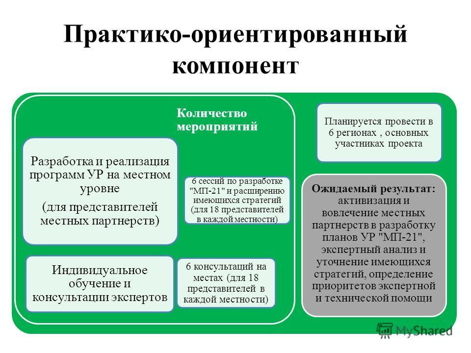 Разработка и реализация программ УР на местном уровне (для представителей местных партнерств) Индивидуальное обучение и консультации экспертов Количество мероприятий 6 сессий по разработке