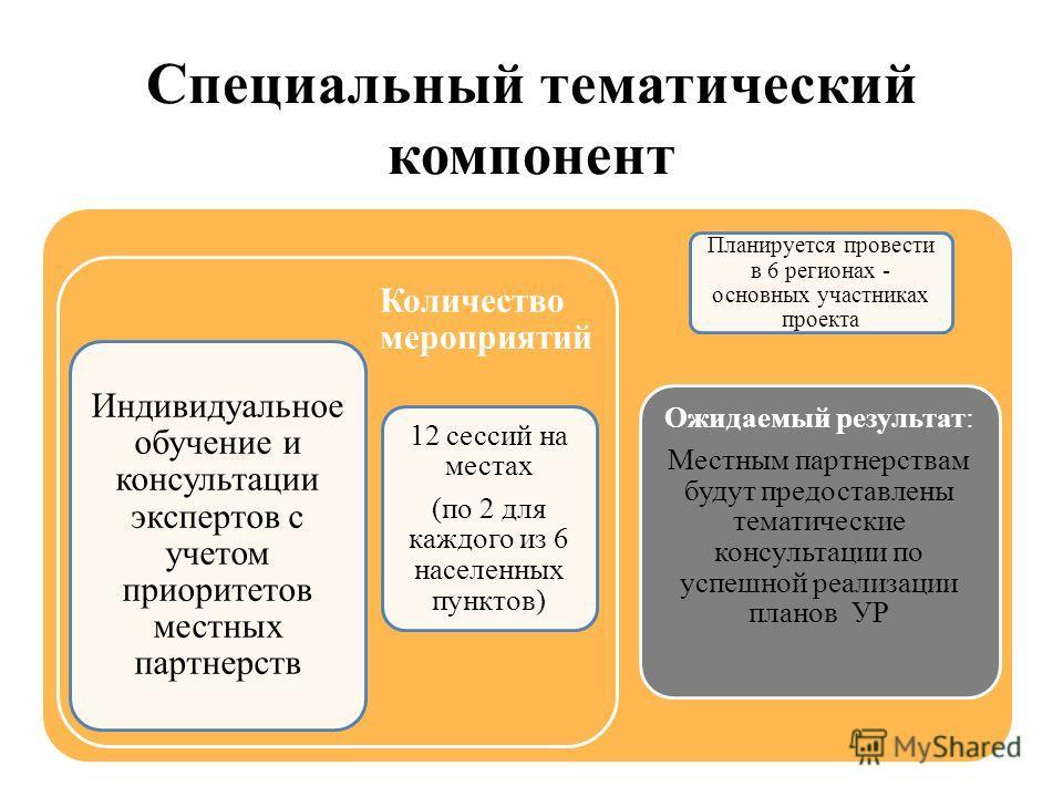 Специальный тематический компонент Индивидуальное обучение и консультации экспертов с учетом приоритетов местных партнерств Количество мероприятий 12 сессий на местах (по 2 для каждого из 6 населенных пунктов) Ожидаемый результат: Местным партнерства