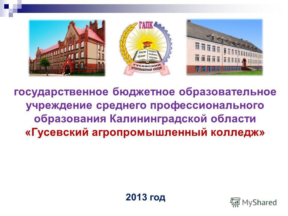государственное бюджетное образовательное учреждение среднего профессионального образования Калининградской области «Гусевский агропромышленный колледж» 2013 год