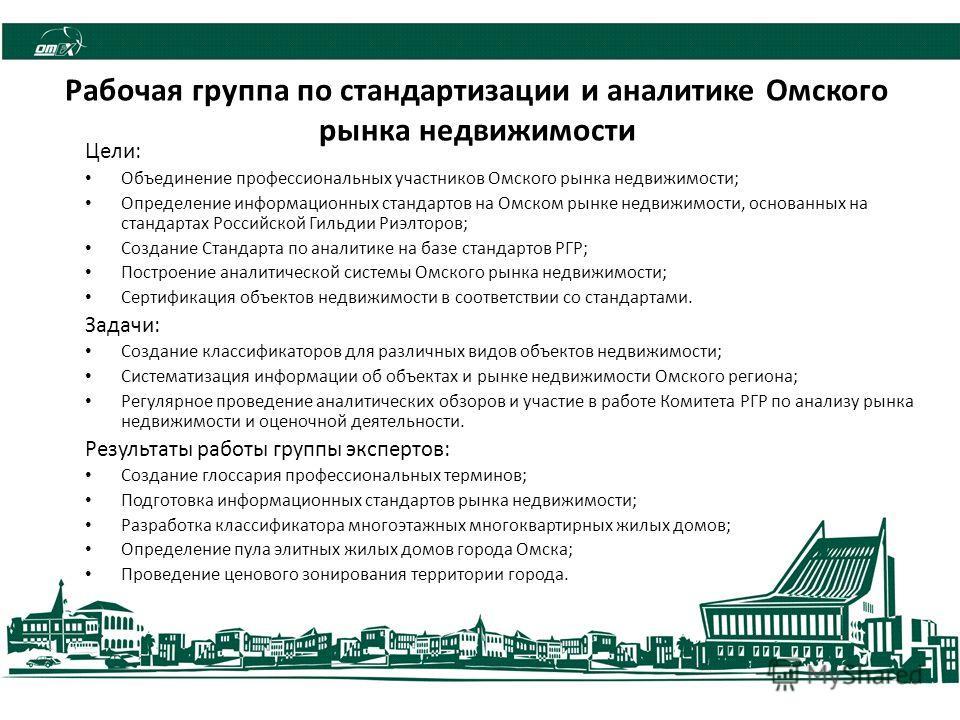 Рабочая группа по стандартизации и аналитике Омского рынка недвижимости Цели: Объединение профессиональных участников Омского рынка недвижимости; Определение информационных стандартов на Омском рынке недвижимости, основанных на стандартах Российской