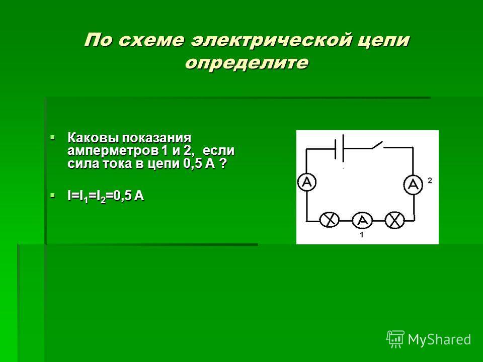 По схеме электрической цепи определите Каковы показания амперметров 1 и 2, если сила тока в цепи 0,5 А ? Каковы показания амперметров 1 и 2, если сила тока в цепи 0,5 А ? I=I 1 =I 2 =0,5 А I=I 1 =I 2 =0,5 А