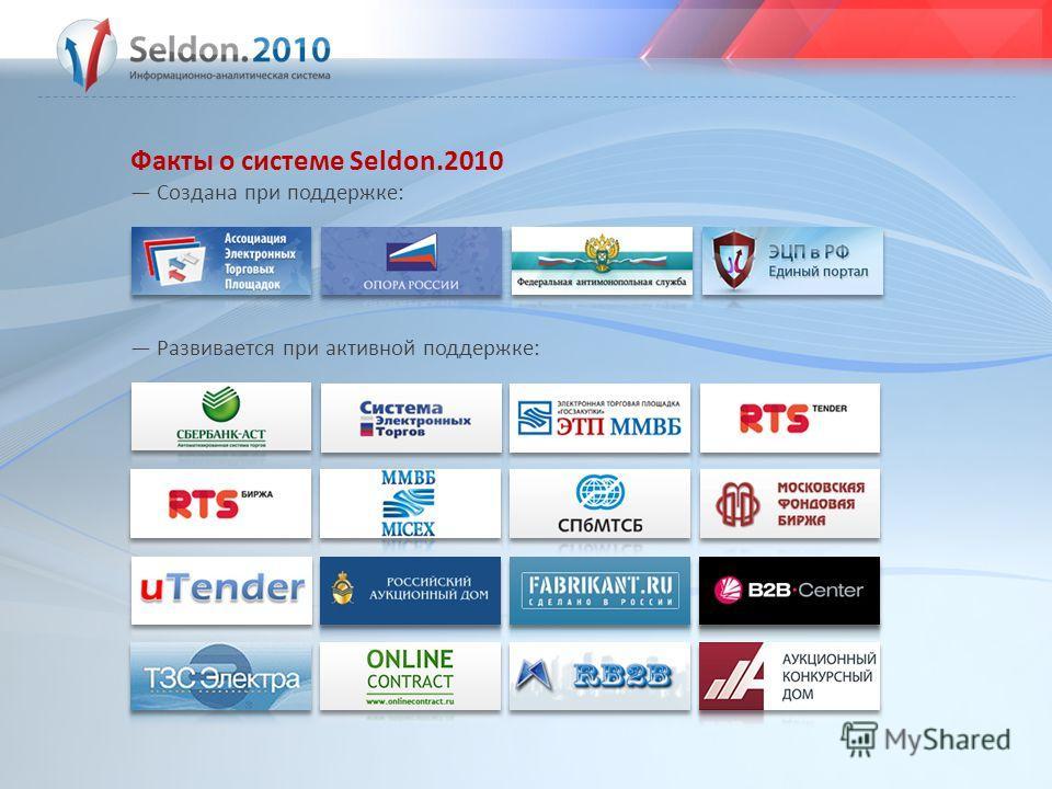 Факты о системе Seldon.2010 Создана при поддержке: Развивается при активной поддержке: