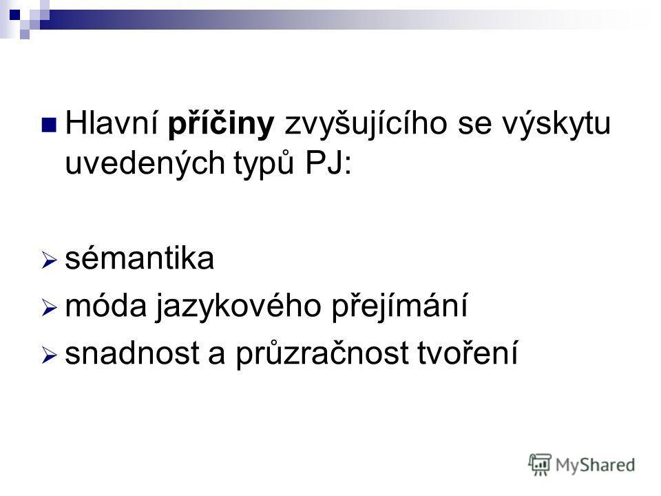 Hlavní příčiny zvyšujícího se výskytu uvedených typů PJ: sémantika móda jazykového přejímání snadnost a průzračnost tvoření