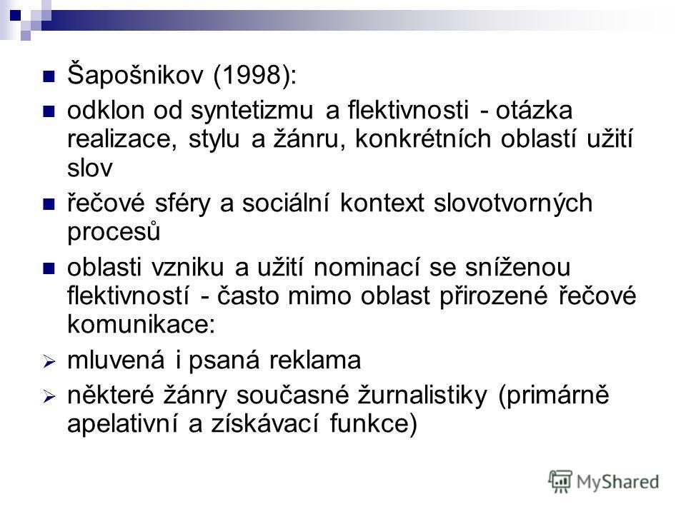 Šapošnikov (1998): odklon od syntetizmu a flektivnosti - otázka realizace, stylu a žánru, konkrétních oblastí užití slov řečové sféry a sociální kontext slovotvorných procesů oblasti vzniku a užití nominací se sníženou flektivností - často mimo oblas