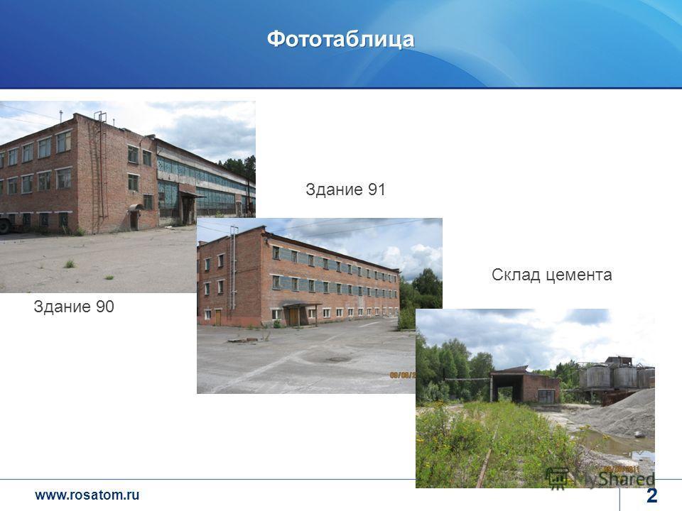 www.rosatom.ru 2 Фототаблица 2 Здание 90 Здание 91 Склад цемента