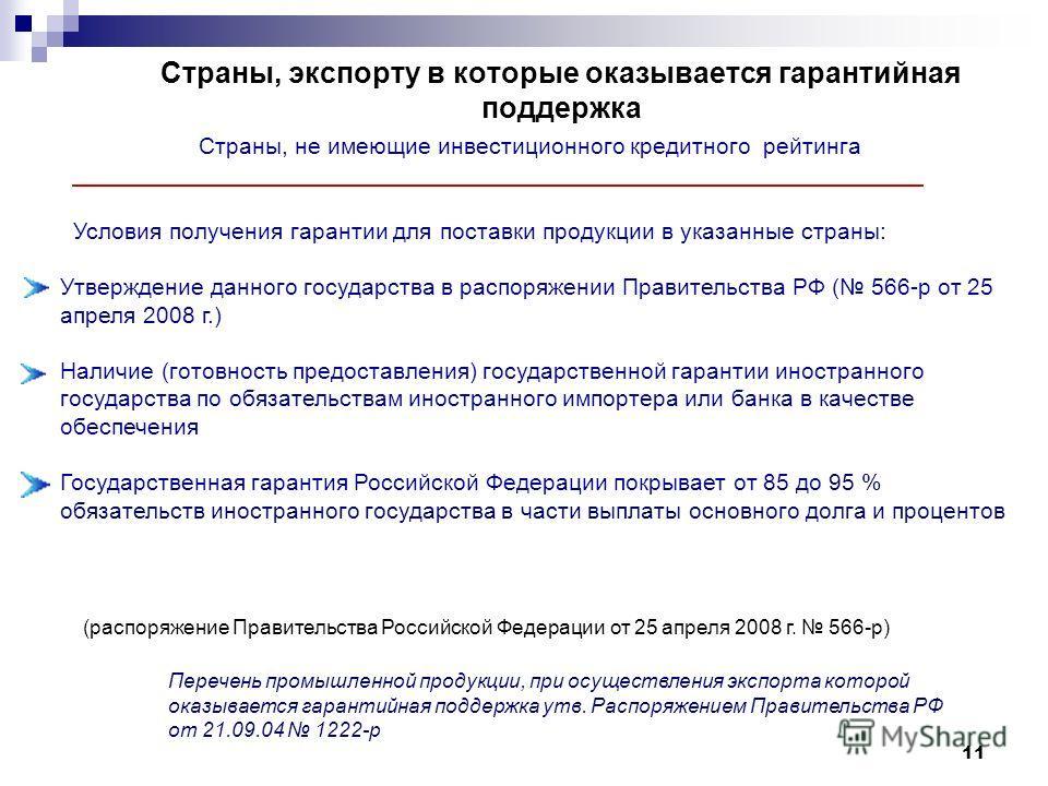 Страны, экспорту в которые оказывается гарантийная поддержка Страны, не имеющие инвестиционного кредитного рейтинга Условия получения гарантии для поставки продукции в указанные страны: Утверждение данного государства в распоряжении Правительства РФ