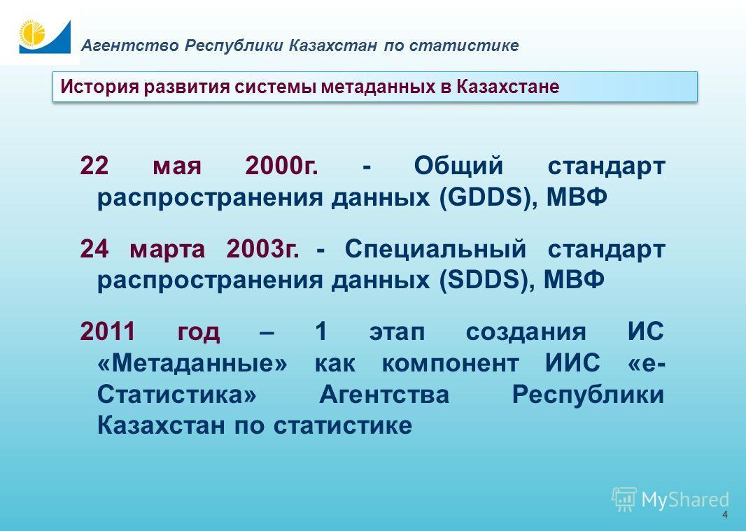 3 Агентство Республики Казахстан по статистике Метаданные от греч. Meta и лат. Data, буквально переводится как «данные о данных», т.е. данные, описывающие другие данные. Статистические метаданные определяются, как данные о статистических данных, и со