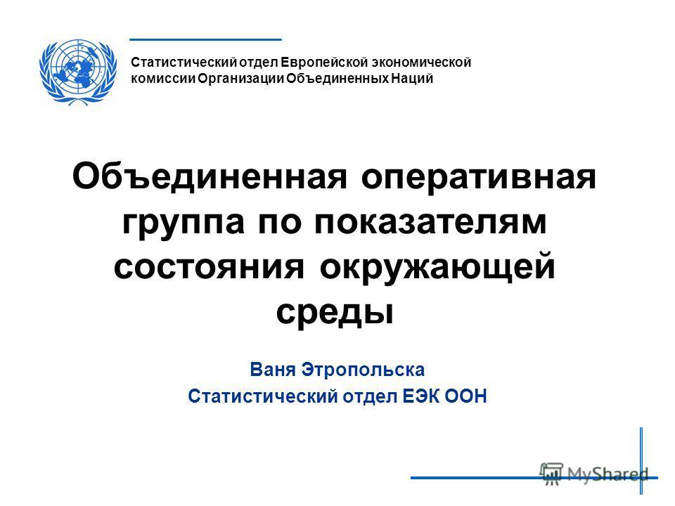 United Nations Economic Commission for Europe Statistical Division Объединенная оперативная группа по показателям состояния окружающей среды Ваня Этропольска Статистический отдел ЕЭК ООН Статистический отдел Европейской экономической комиссии Организ