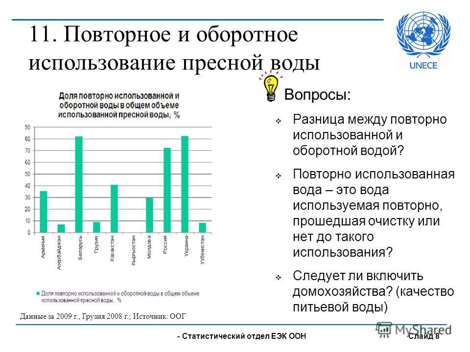 - UNECE Statistical Division Slide 8 Вопросы: Разница между повторно использованной и оборотной водой? Повторно использованная вода – это вода используемая повторно, прошедшая очистку или нет до такого использования? Следует ли включить домохозяйства