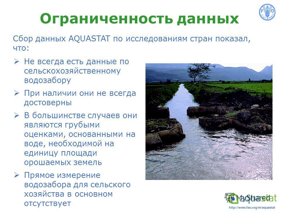 http://www.fao.org/nr/aquastat Ограниченность данных Не всегда есть данные по сельскохозяйственному водозабору При наличии они не всегда достоверны В большинстве случаев они являются грубыми оценками, основанными на воде, необходимой на единицу площа