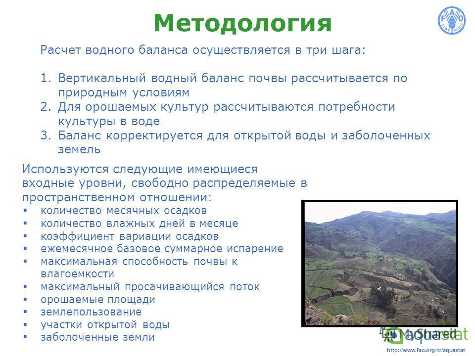 http://www.fao.org/nr/aquastat Методология Расчет водного баланса осуществляется в три шага: 1.Вертикальный водный баланс почвы рассчитывается по природным условиям 2.Для орошаемых культур рассчитываются потребности культуры в воде 3.Баланс корректир