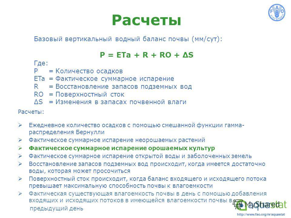 http://www.fao.org/nr/aquastat Расчеты Расчеты: Ежедневное количество осадков с помощью смешанной функции гамма- распределения Бернулли Фактическое суммарное испарение неорошаемых растений Фактическое суммарное испарение орошаемых культур Фактическое