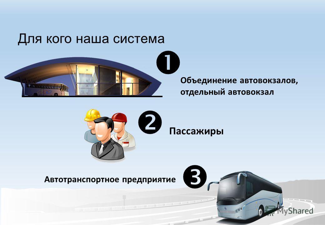 Для кого наша система Объединение автовокзалов, отдельный автовокзал Пассажиры Автотранспортное предприятие