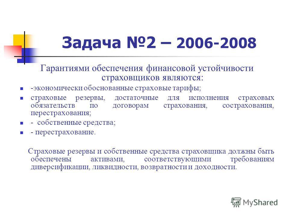 Задача 2 – 2006-2008 Гарантиями обеспечения финансовой устойчивости страховщиков являются: -экономически обоснованные страховые тарифы; страховые резервы, достаточные для исполнения страховых обязательств по договорам страхования, сострахования, пере