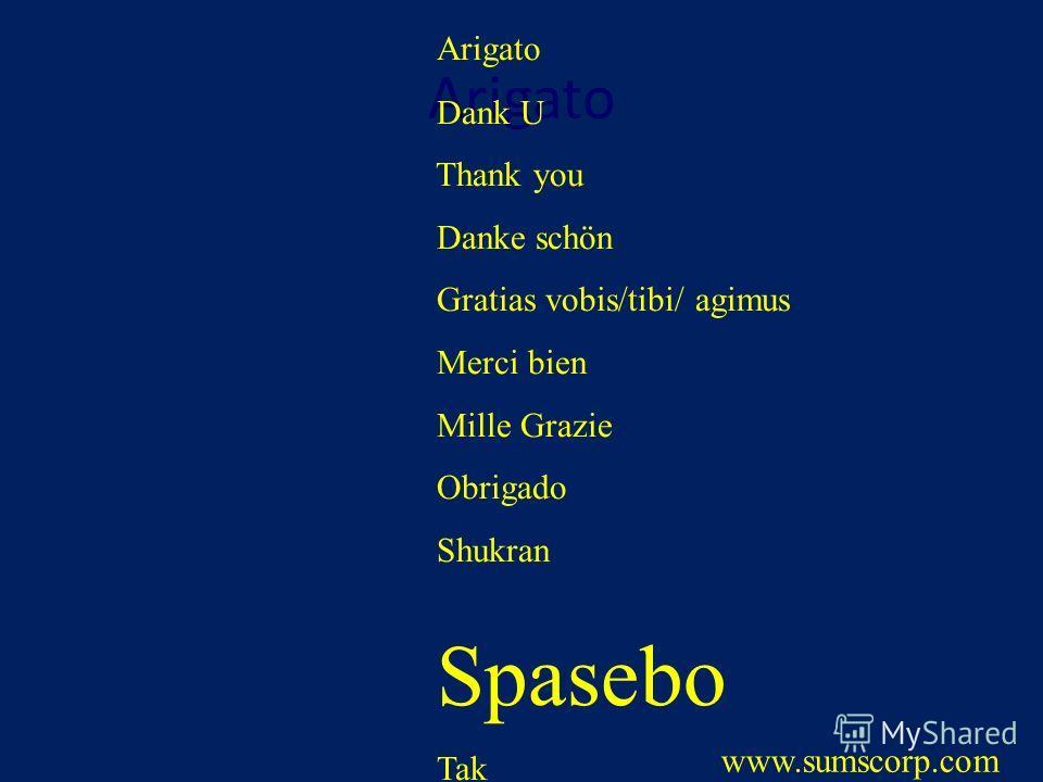 Arigato Dank U Thank you Danke schön Gratias vobis/tibi/ agimus Merci bien Mille Grazie Obrigado Shukran Spasebo Tak www.sumscorp.com
