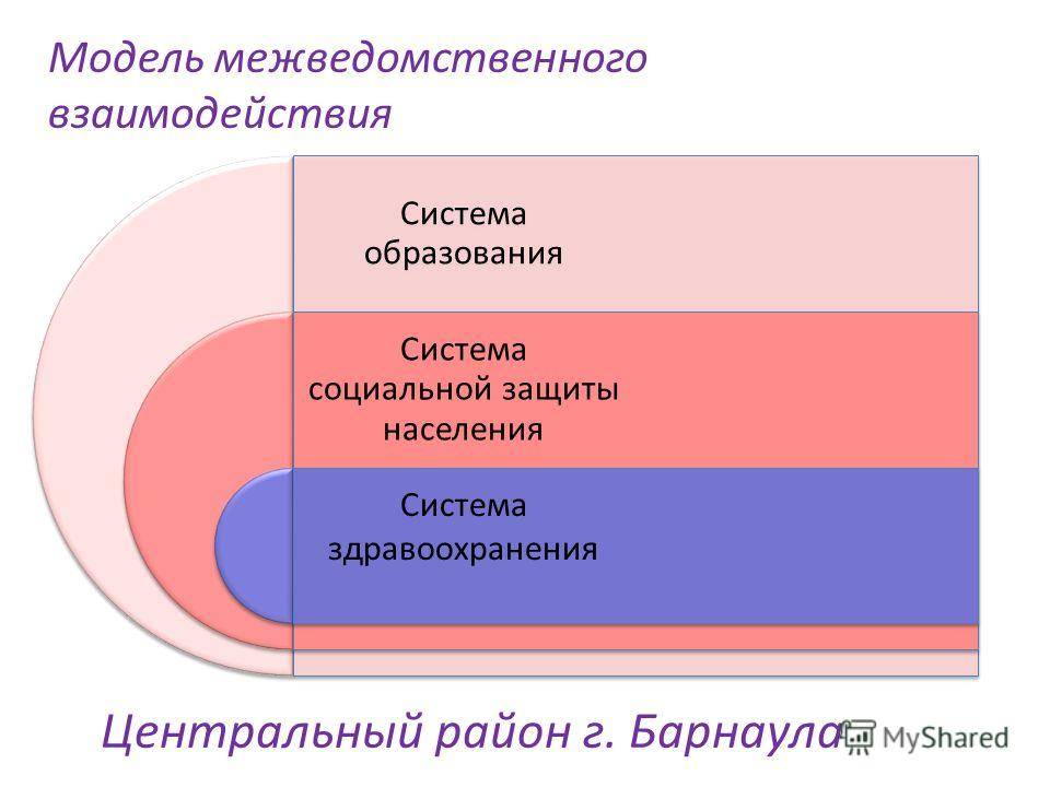 Модель межведомственного взаимодействия Система образования Система социальной защиты населения Система здравоохранения Центральный район г. Барнаула