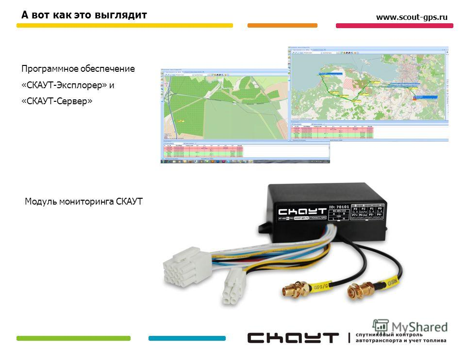 Программное обеспечение «СКАУТ-Эксплорер» и «СКАУТ-Сервер» Модуль мониторинга СКАУТ А вот как это выглядит www.scout-gps.ru