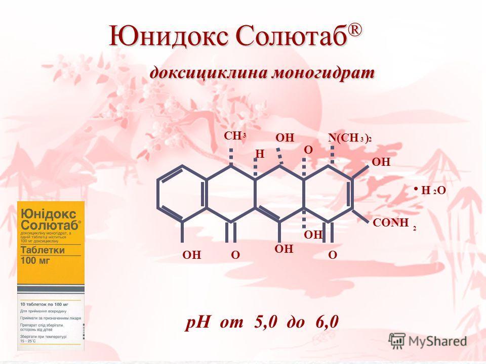 Юнидокс Солютаб ® доксициклина моногидрат доксициклина моногидрат OHO CONH 2 OH O CH 3 H OH O N(CH ) 32. H O 2 pH от 5,0 до 6,0