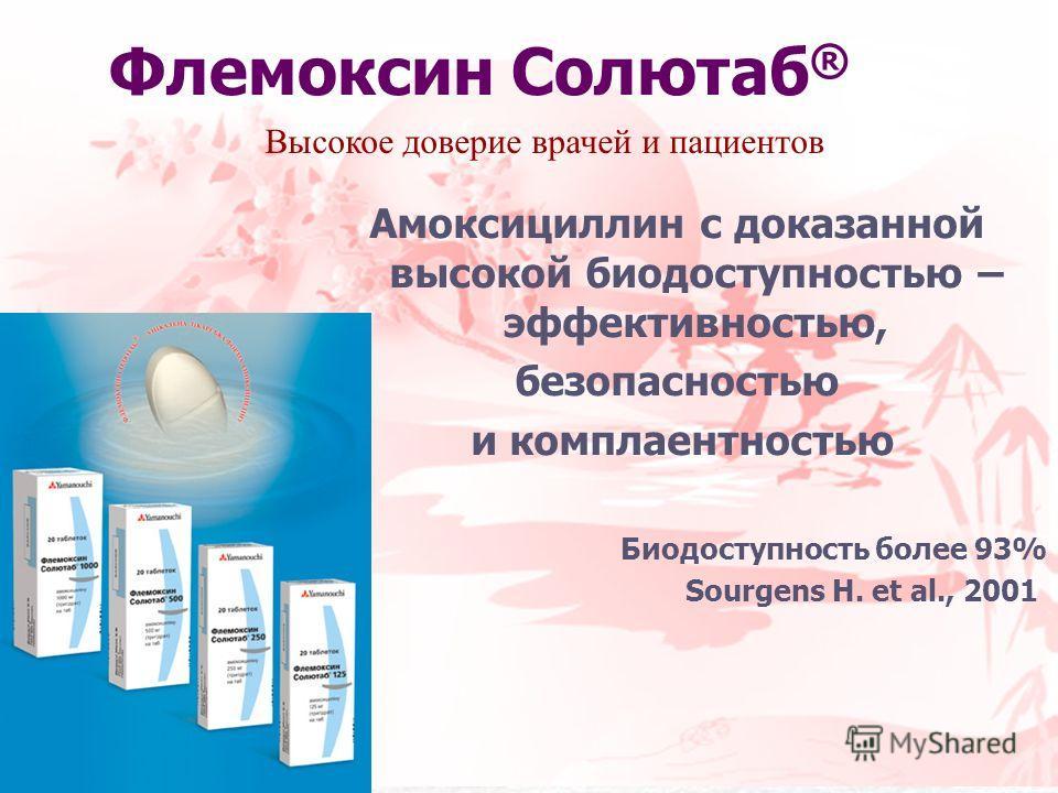 Флемоксин Солютаб ® Амоксициллин с доказанной высокой биодоступностью – эффективностью, безопасностью и комплаентностью Биодоступность более 93% Sourgens H. et al., 2001 Высокое доверие врачей и пациентов