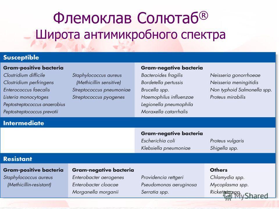 Флемоклав Солютаб ® Широта антимикробного спектра