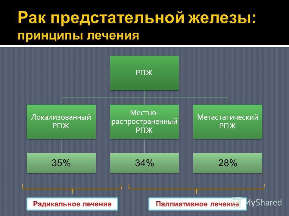 РПЖ Локализованный РПЖ 35% Местно- распространенный РПЖ 34% Метастатический РПЖ 28%