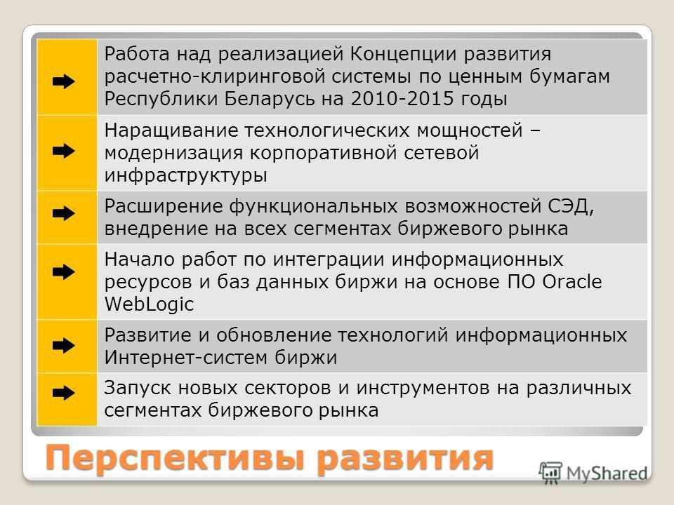Перспективы развития Работа над реализацией Концепции развития расчетно-клиринговой системы по ценным бумагам Республики Беларусь на 2010-2015 годы Наращивание технологических мощностей – модернизация корпоративной сетевой инфраструктуры Расширение ф