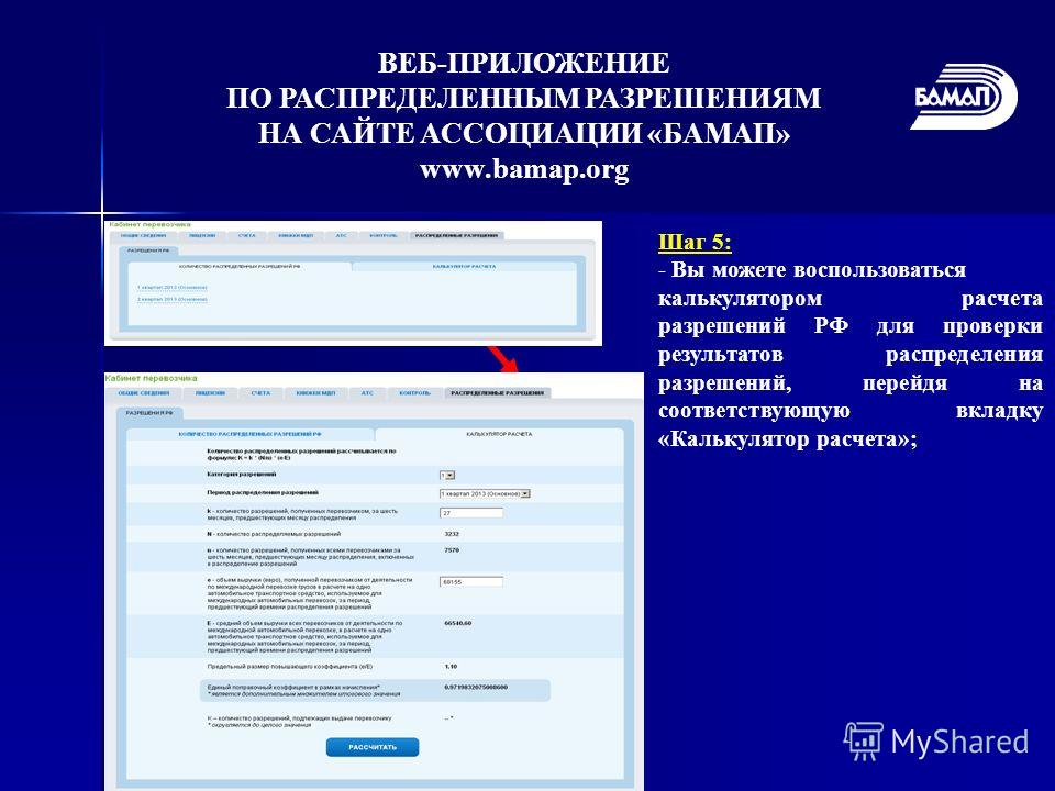 Шаг 5: - Вы можете воспользоваться калькулятором расчета разрешений РФ для проверки результатов распределения разрешений, перейдя на соответствующую вкладку «Калькулятор расчета»; ВЕБ-ПРИЛОЖЕНИЕ ПО РАСПРЕДЕЛЕННЫМ РАЗРЕШЕНИЯМ НА САЙТЕ АССОЦИАЦИИ «БАМА