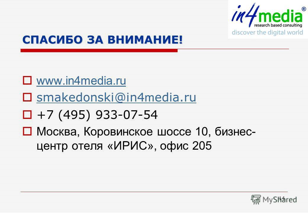 14 СПАСИБО ЗА ВНИМАНИЕ! www.in4media.ru smakedonski@in4 m edia.ru smakedonski@in4 m edia.ru +7 (495) 933-07-54 Москва, Коровинское шоссе 10, бизнес- центр отеля «ИРИС», офис 205