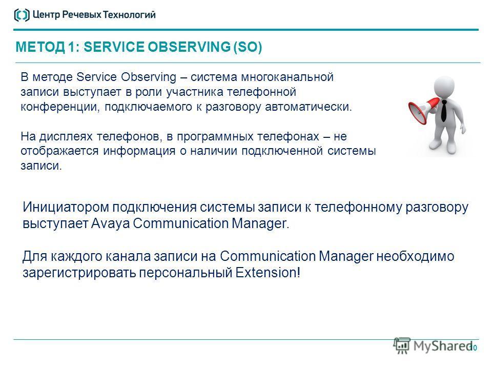 10 МЕТОД 1: SERVICE OBSERVING (SO) В методе Service Observing – система многоканальной записи выступает в роли участника телефонной конференции, подключаемого к разговору автоматически. На дисплеях телефонов, в программных телефонах – не отображается