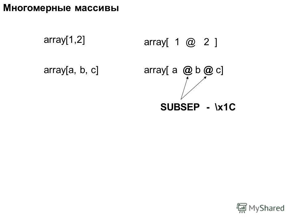 array[1,2] array[ 1 @ 2 ] array[a, b, c]array[ a @ b @ c] Многомерные массивы SUBSEP - \x1C