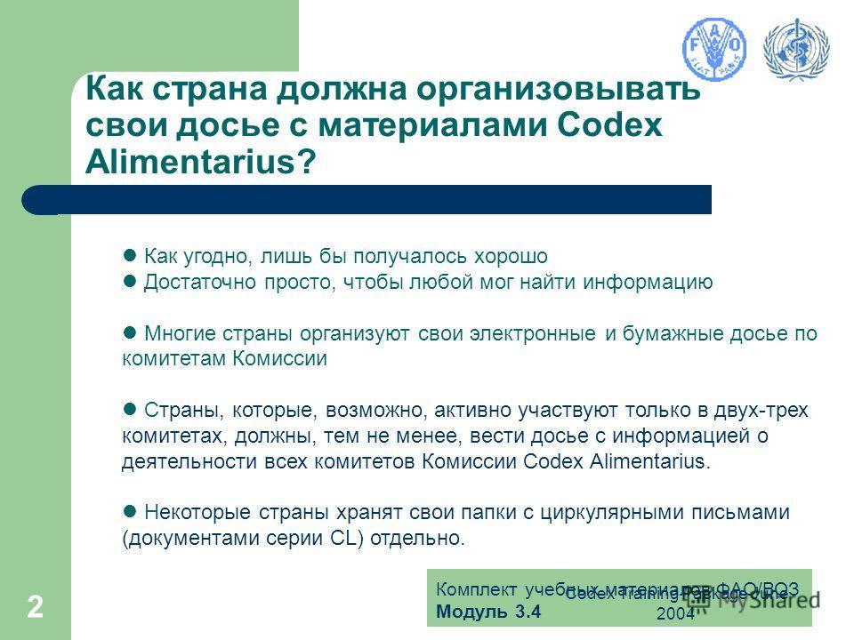 Комплект учебных материалов ФАО/ВОЗ Модуль 3.4 Codex Training Package June 2004 2 Как страна должна организовывать свои досье с материалами Codex Alimentarius? Как угодно, лишь бы получалось хорошо Достаточно просто, чтобы любой мог найти информацию
