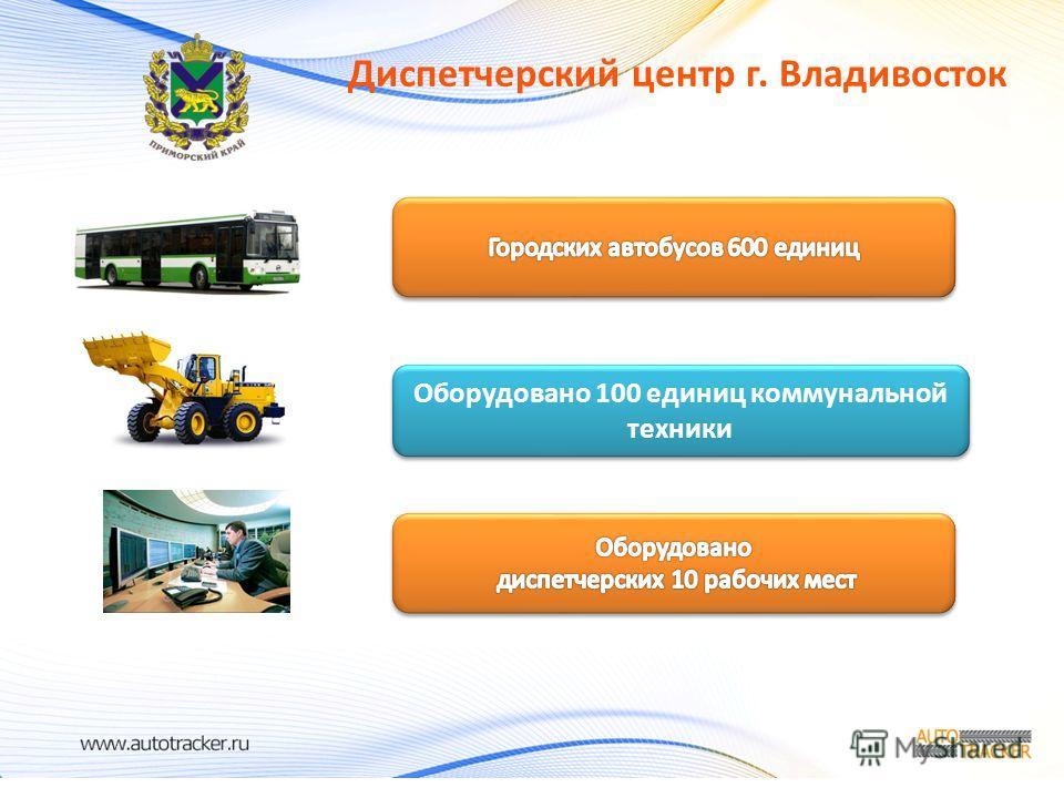 Диспетчерский центр г. Владивосток Оборудовано 100 единиц коммунальной техники