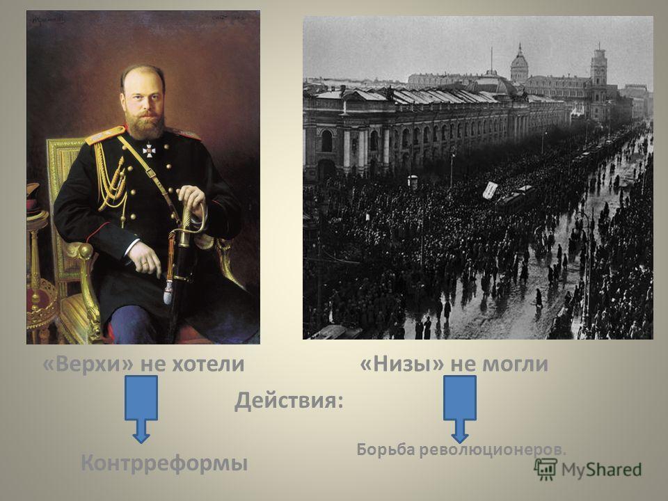 «Верхи» не хотели«Низы» не могли Действия: Контрреформы Борьба революционеров.