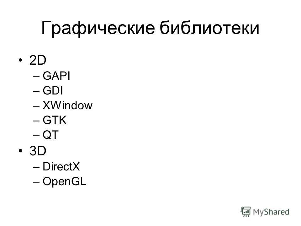 Графические библиотеки 2D –GAPI –GDI –XWindow –GTK –QT 3D –DirectX –OpenGL
