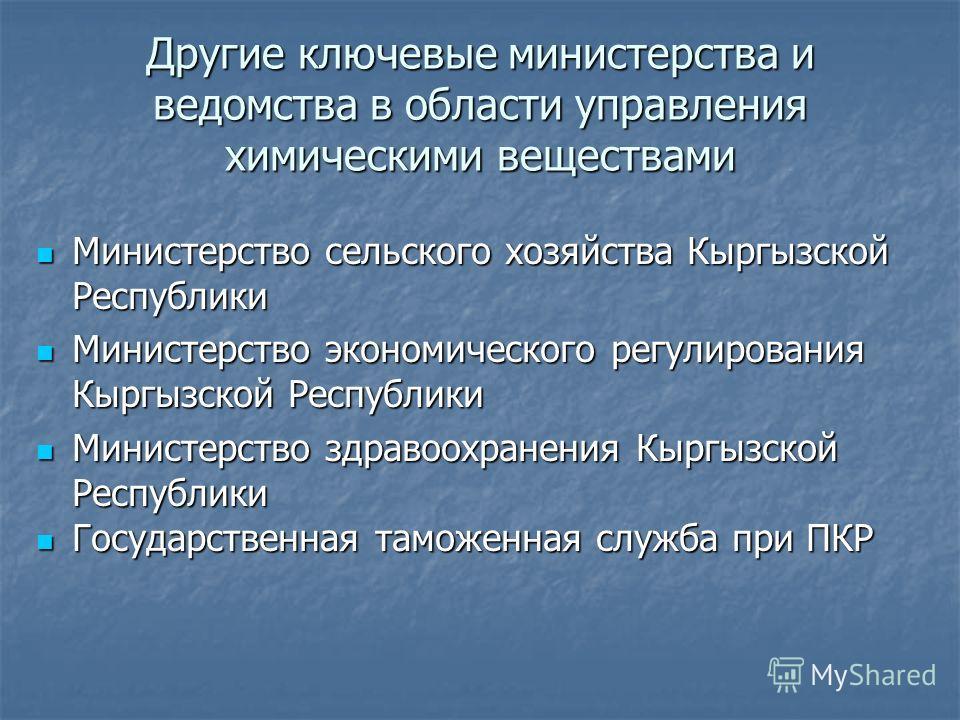 Другие ключевые министерства и ведомства в области управления химическими веществами Министерство сельского хозяйства Кыргызской Республики Министерство сельского хозяйства Кыргызской Республики Министерство экономического регулирования Кыргызской Ре