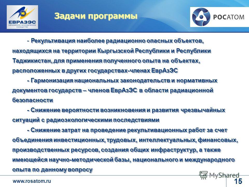 www.rosatom.ru Задачи программы 15 Рекультивация наиболее радиационно опасных объектов, находящихся на территории Кыргызской Республики и Республики Таджикистан, для применения полученного опыта на объектах, расположенных в других государствах-членах