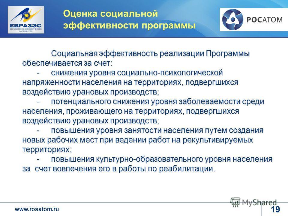 www.rosatom.ru Оценка социальной эффективности программы Социальная эффективность реализации Программы обеспечивается за счет: -снижения уровня социально-психологической напряженности населения на территориях, подвергшихся воздействию урановых произв