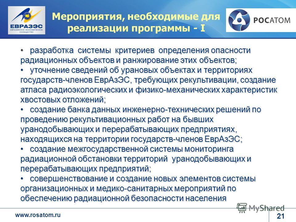 www.rosatom.ru Мероприятия, необходимые для реализации программы - I разработка системы критериев определения опасности радиационных объектов и ранжирование этих объектов; разработка системы критериев определения опасности радиационных объектов и ран