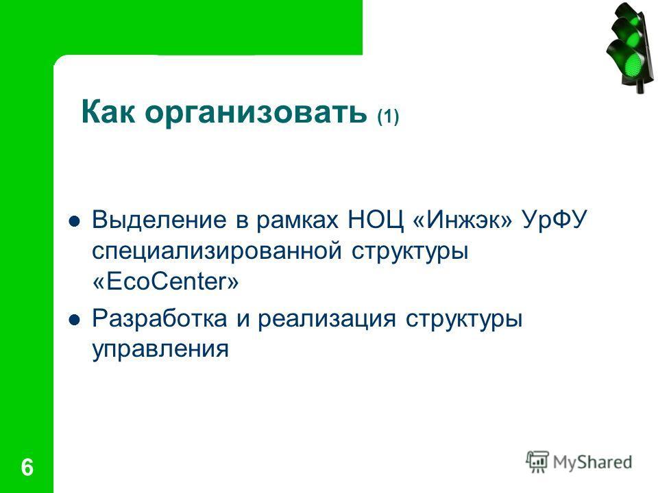 6 Как организовать (1) Выделение в рамках НОЦ «Инжэк» УрФУ специализированной структуры «EcoCenter» Разработка и реализация структуры управления