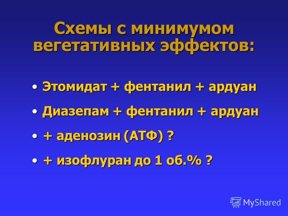 Схемы с минимумом вегетативных эффектов: Этомидат + фентанил + ардуанЭтомидат + фентанил + ардуан Диазепам + фентанил + ардуанДиазепам + фентанил + ардуан + аденозин (АТФ) ?+ аденозин (АТФ) ? + изофлуран до 1 об.% ?+ изофлуран до 1 об.% ?