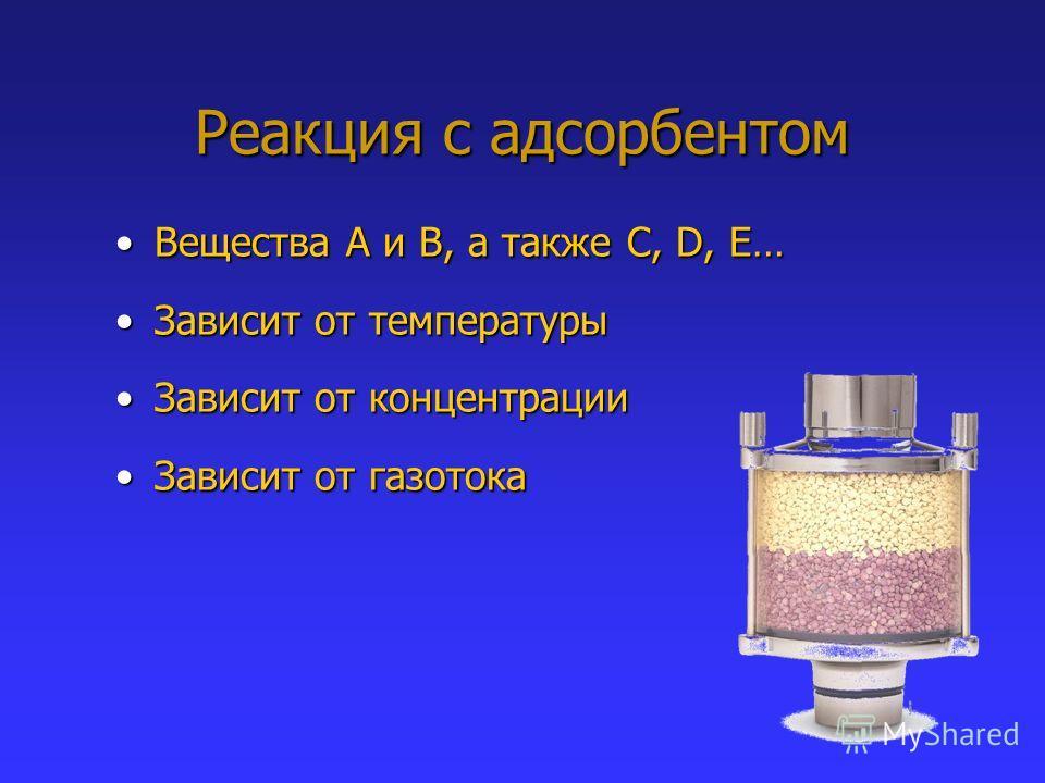 Реакция с адсорбентом Вещества A и B, а также C, D, E…Вещества A и B, а также C, D, E… Зависит от температурыЗависит от температуры Зависит от концентрацииЗависит от концентрации Зависит от газотокаЗависит от газотока