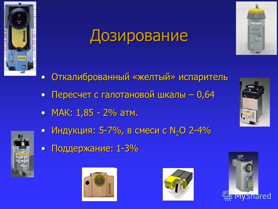 Дозирование Откалиброванный «желтый» испарительОткалиброванный «желтый» испаритель Пересчет с галотановой шкалы – 0,64Пересчет с галотановой шкалы – 0,64 МАК: 1,85 - 2% атм.МАК: 1,85 - 2% атм. Индукция: 5-7%, в смеси с N 2 O 2-4%Индукция: 5-7%, в сме
