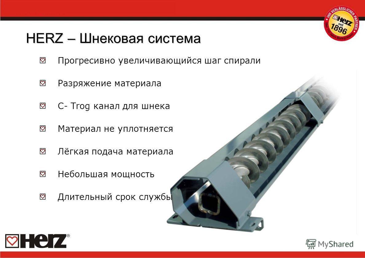 HERZ – Шнековая система Прогресивно увеличивающийся шаг спирали Разряжение материала C- Trog канал для шнека Материал не уплотняется Лёгкая подача материала Небольшая мощность Длительный срок службы