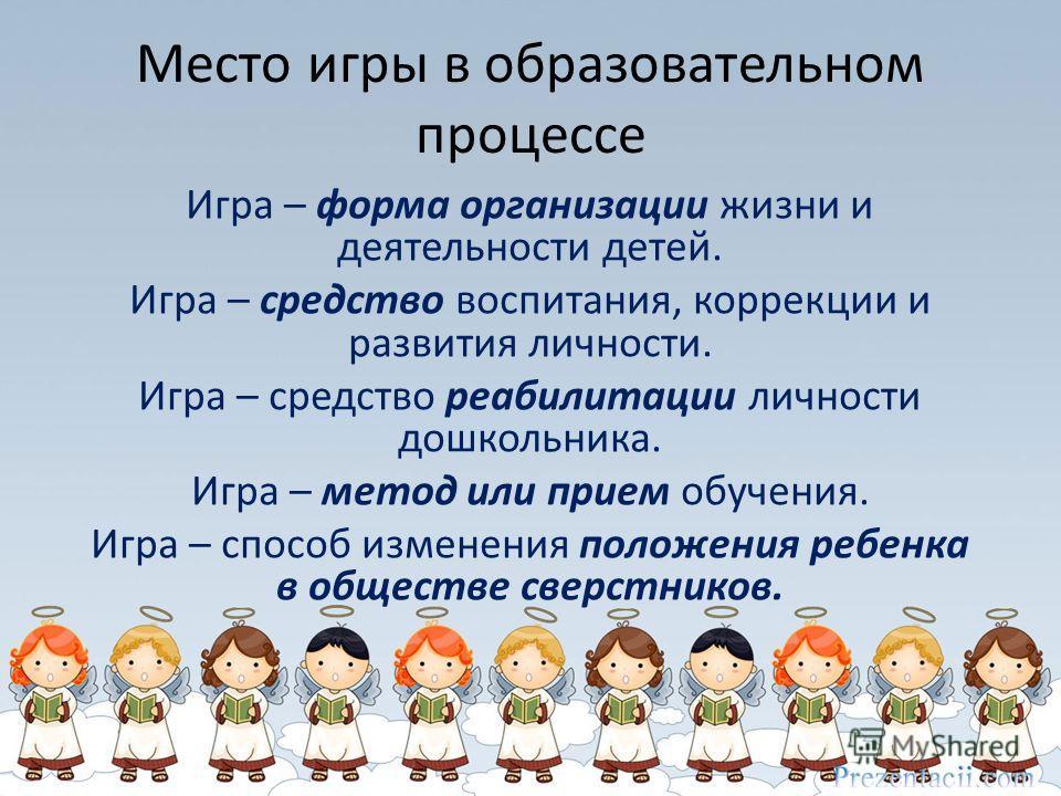 Место игры в образовательном процессе Игра – форма организации жизни и деятельности детей. Игра – средство воспитания, коррекции и развития личности. Игра – средство реабилитации личности дошкольника. Игра – метод или прием обучения. Игра – способ из