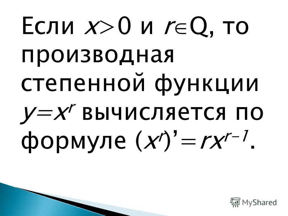 Если х>0 и r Q, то производная степенной функции у=x r вычисляется по формуле (x r )=rx r-1.